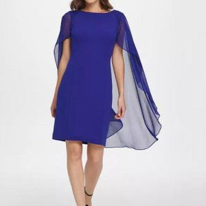 NWOT DKNY Royal Blue Dress with Chiffon Cape